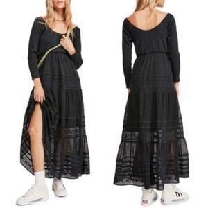 Free People Earth Angel Maxi Dress Black